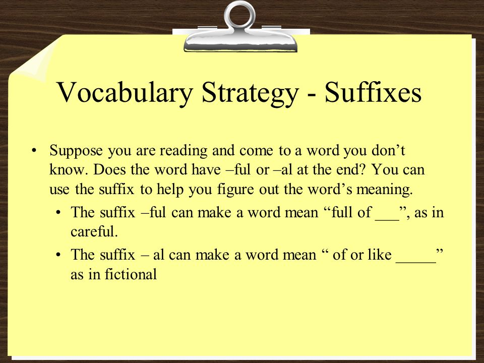 Vocabulary Strategy - Suffixes