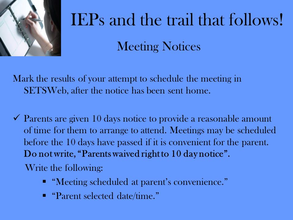 IEPs and the trail that follows!