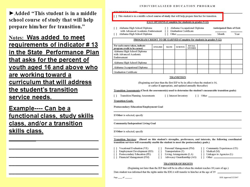 Added This student is in a middle school course of study that will help prepare him/her for transition.