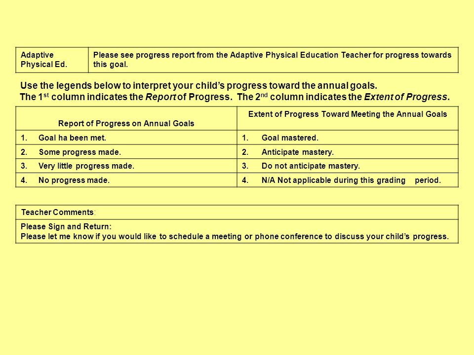 Adaptive Physical Ed.Please see progress report from the Adaptive Physical Education Teacher for progress towards this goal.
