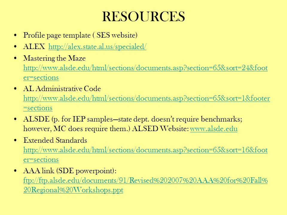 RESOURCES Profile page template ( SES website)