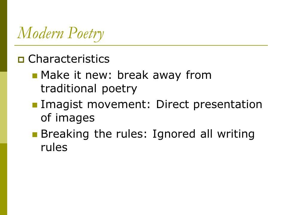 Modern Poetry Characteristics