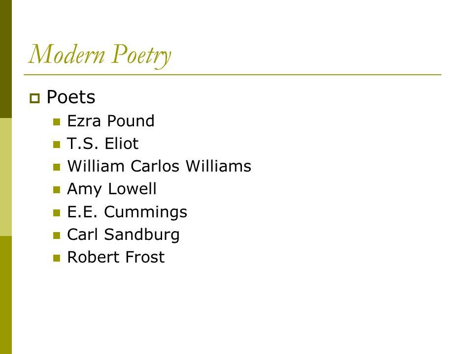 Modern Poetry Poets Ezra Pound T.S. Eliot William Carlos Williams