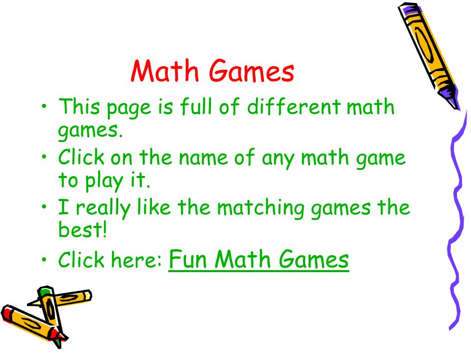 Math Games This page is full of different math games.