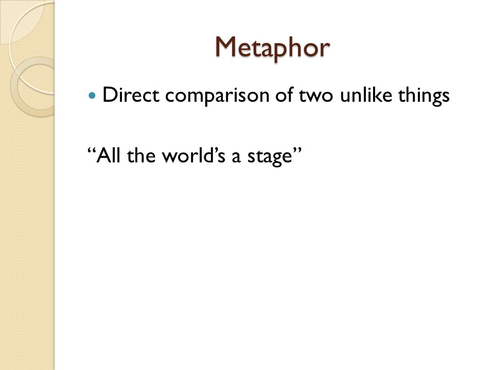 Metaphor Direct comparison of two unlike things