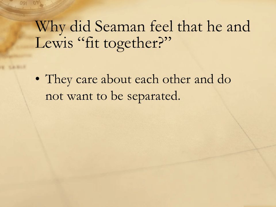 Why did Seaman feel that he and Lewis fit together