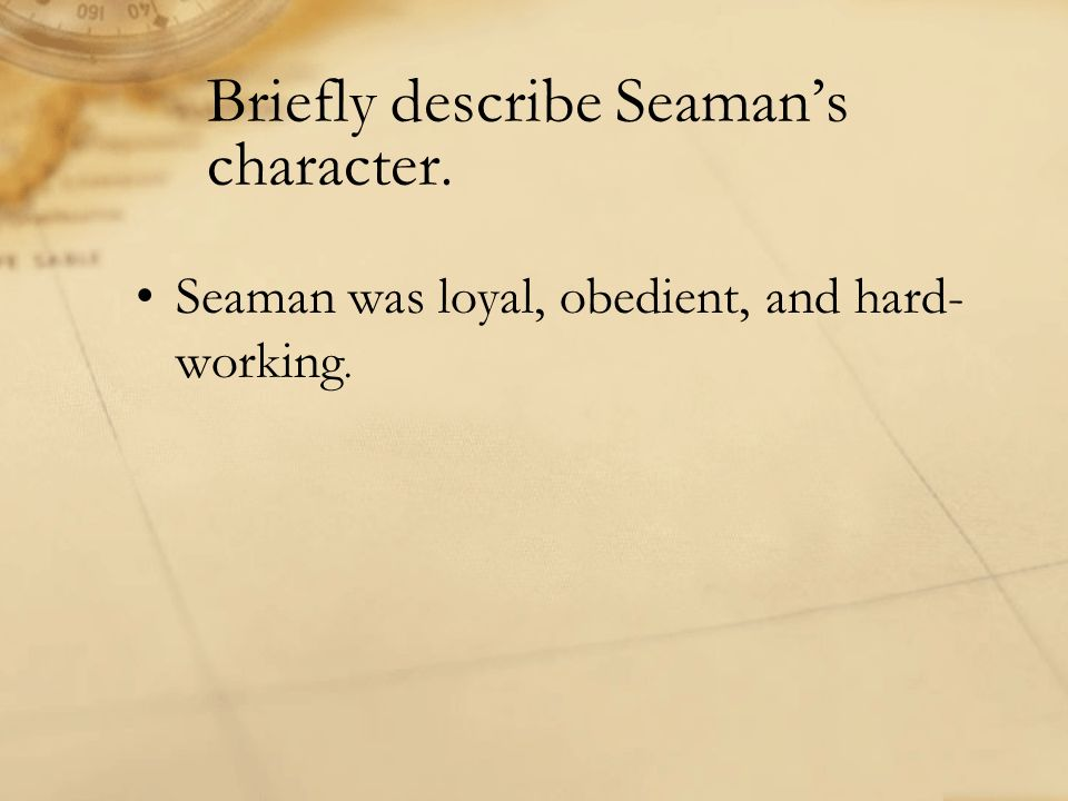 Briefly describe Seaman's character.