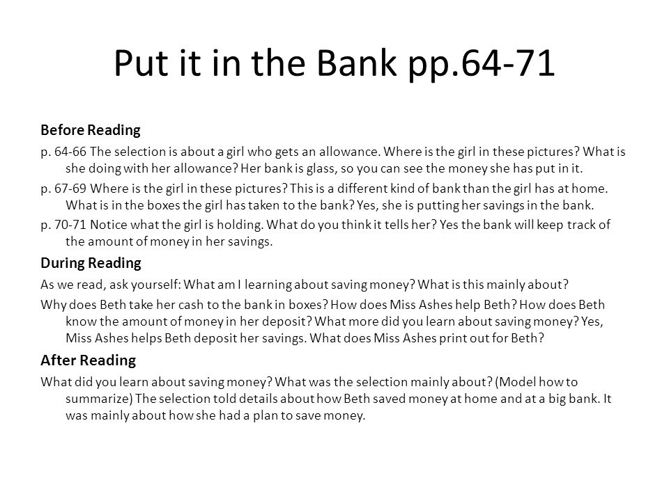 Put it in the Bank pp.64-71 After Reading Before Reading