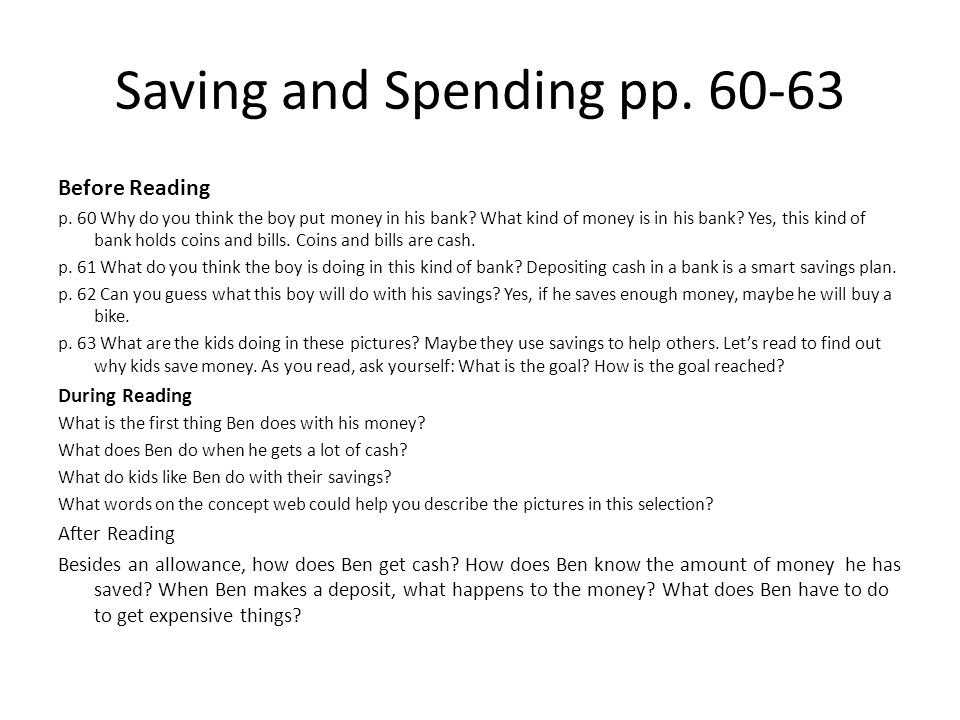Saving and Spending pp. 60-63