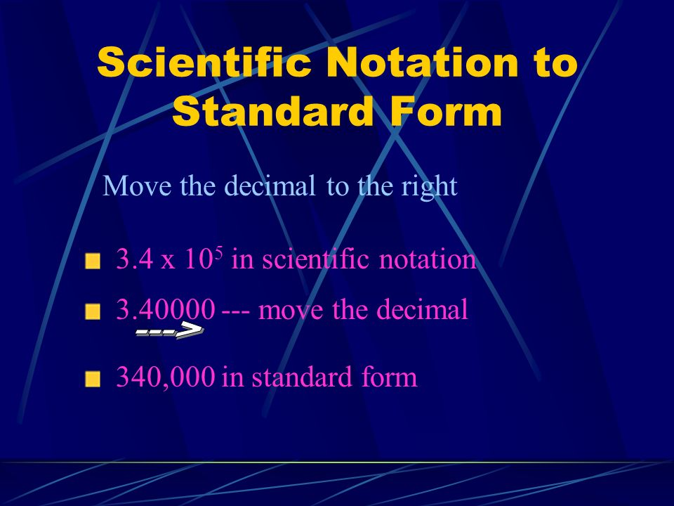 Scientific Notation to Standard Form
