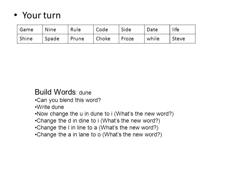 Your turn Build Words: dune Game Nine Rule Code Side Date Shine Spade