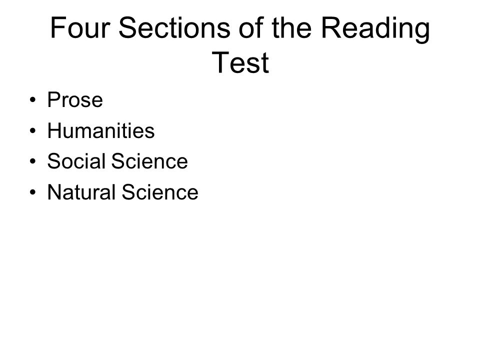 Four Sections of the Reading Test