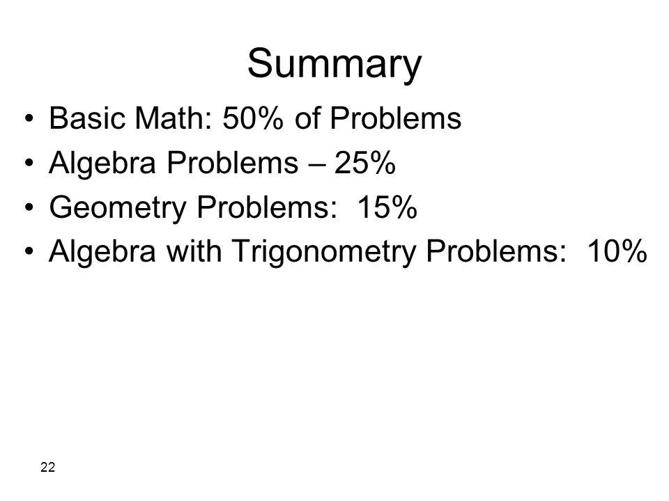 Summary Basic Math: 50% of Problems Algebra Problems – 25%