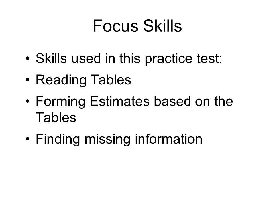 Focus Skills Skills used in this practice test: Reading Tables