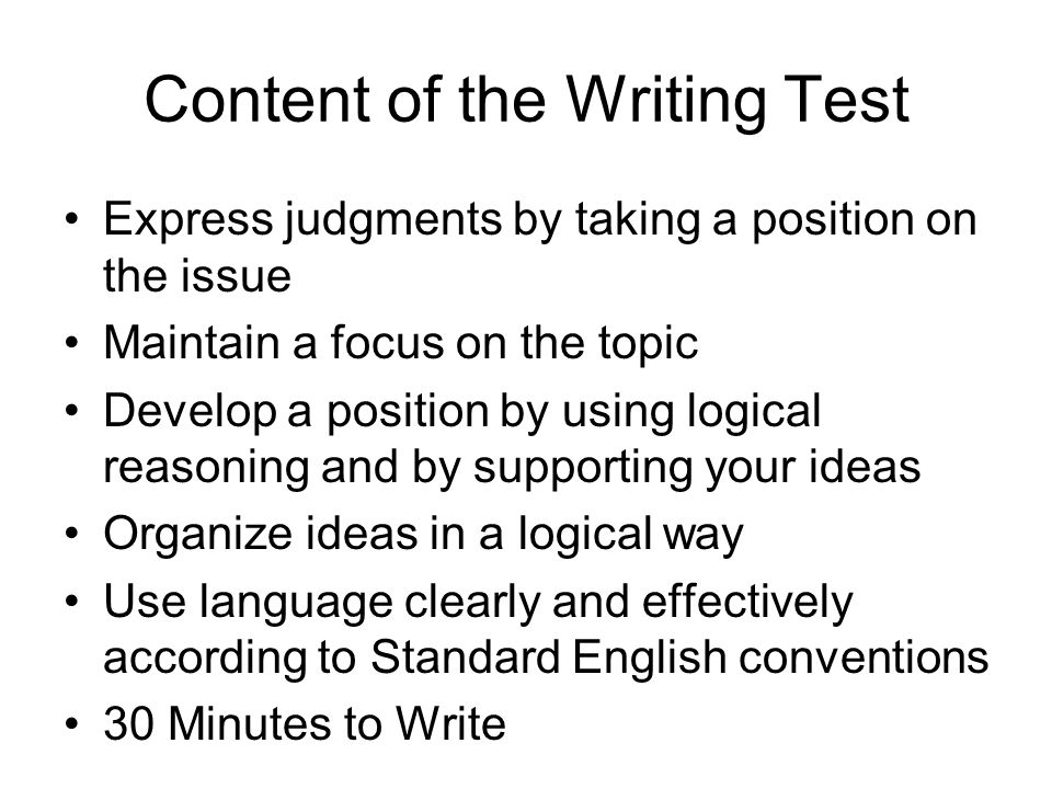 Content of the Writing Test