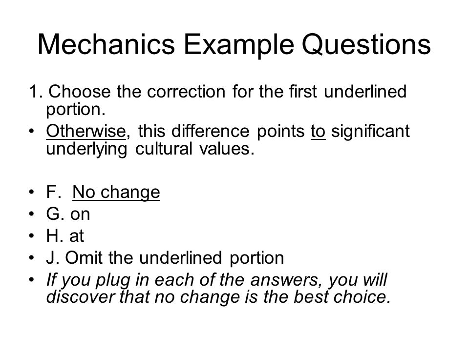 Mechanics Example Questions