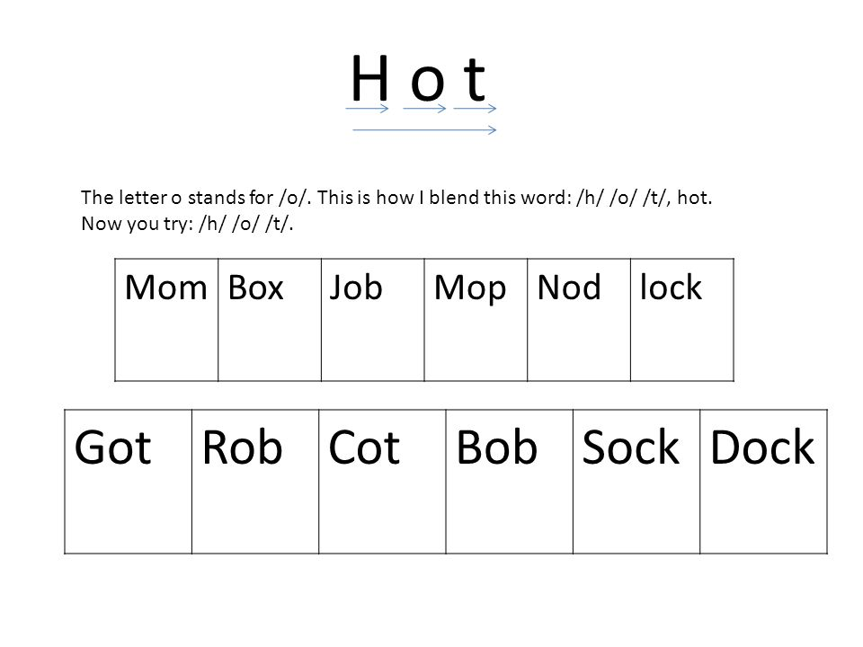 H o t Got Rob Cot Bob Sock Dock Mom Box Job Mop Nod lock