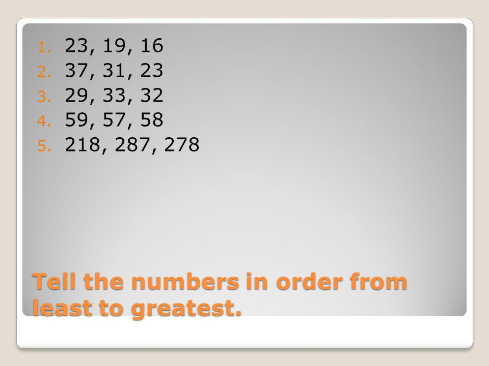 Tell the numbers in order from least to greatest.