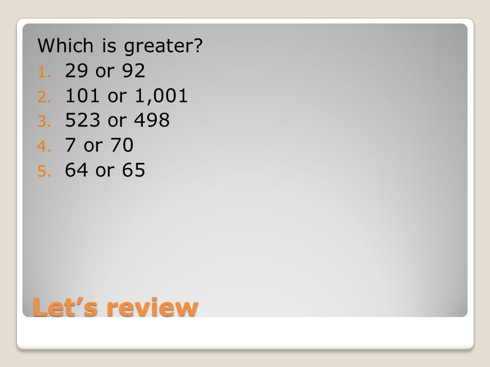 Let's review Which is greater 29 or 92 101 or 1,001 523 or 498