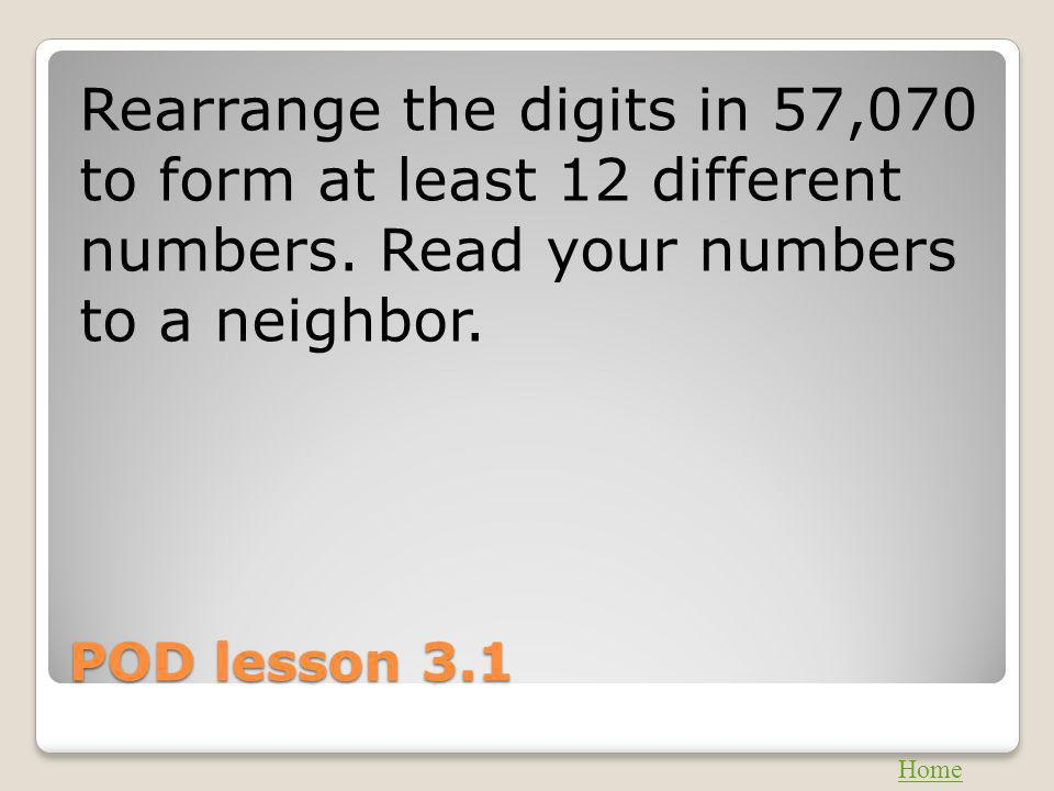 Rearrange the digits in 57,070 to form at least 12 different numbers