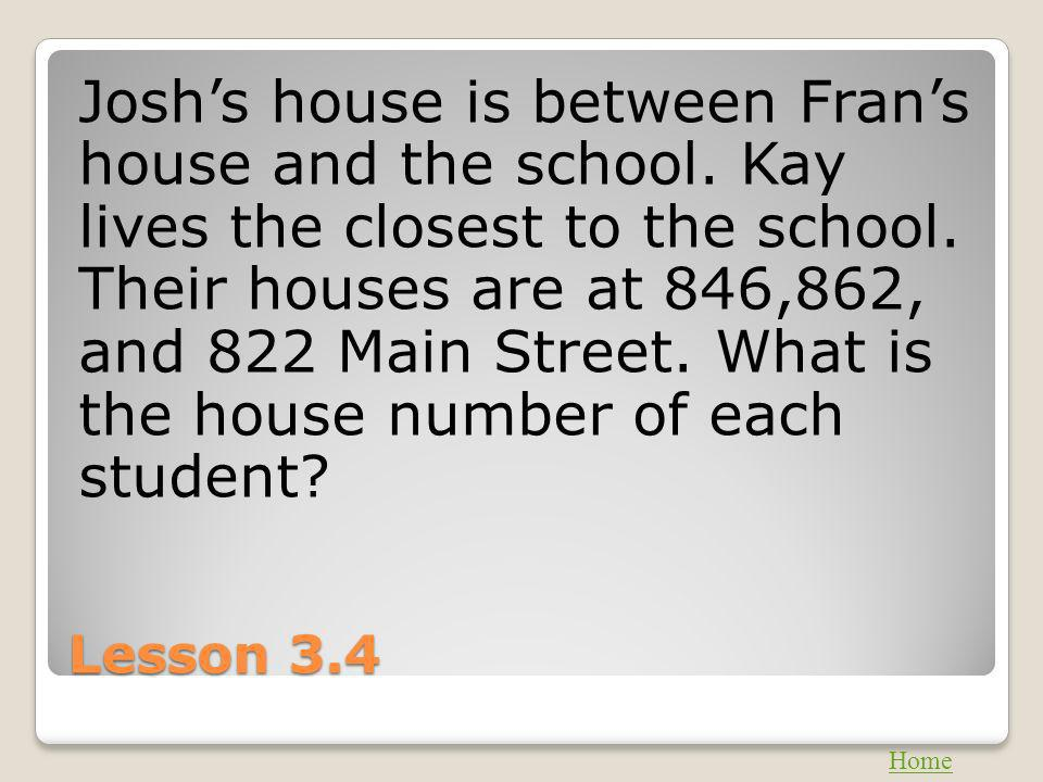 Josh's house is between Fran's house and the school
