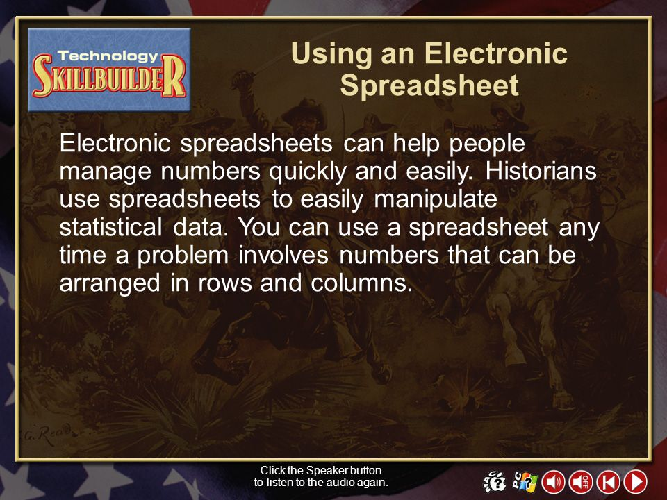 Using an Electronic Spreadsheet
