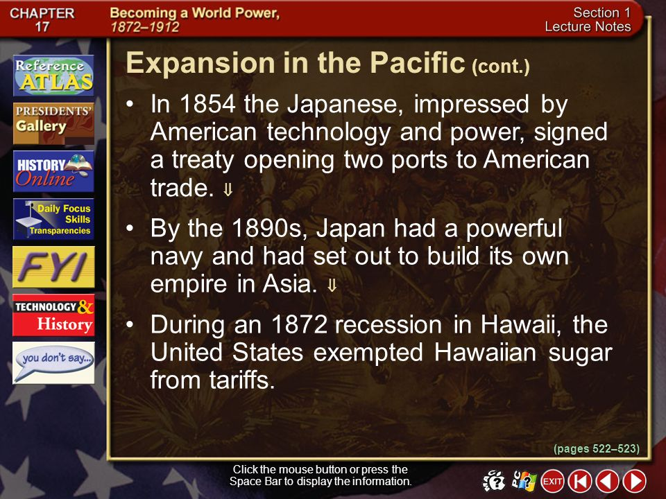Expansion in the Pacific (cont.)