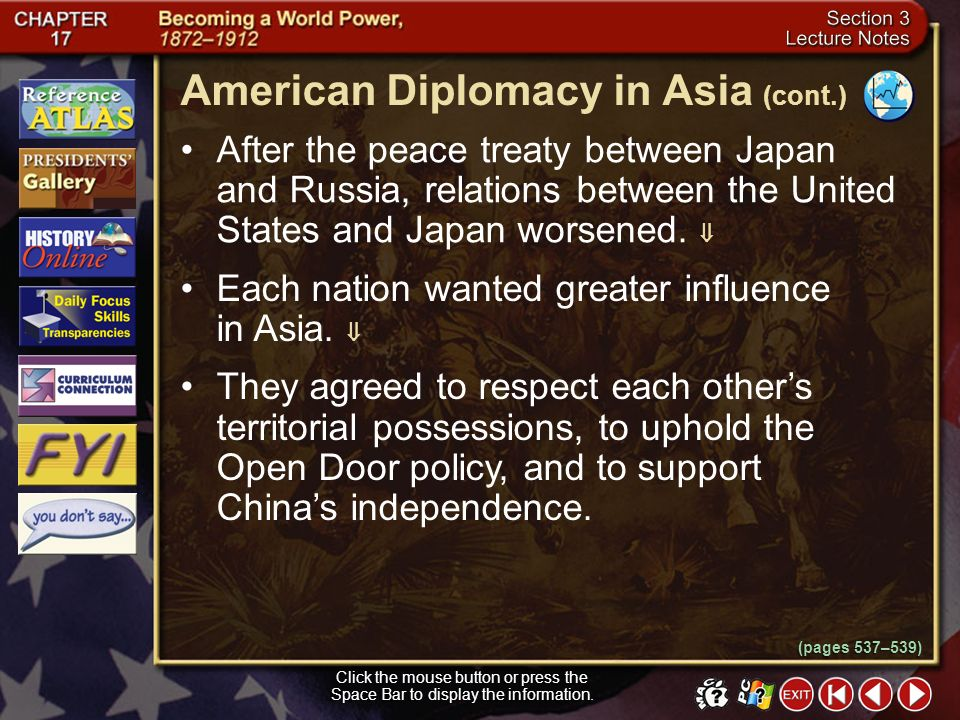 American Diplomacy in Asia (cont.)