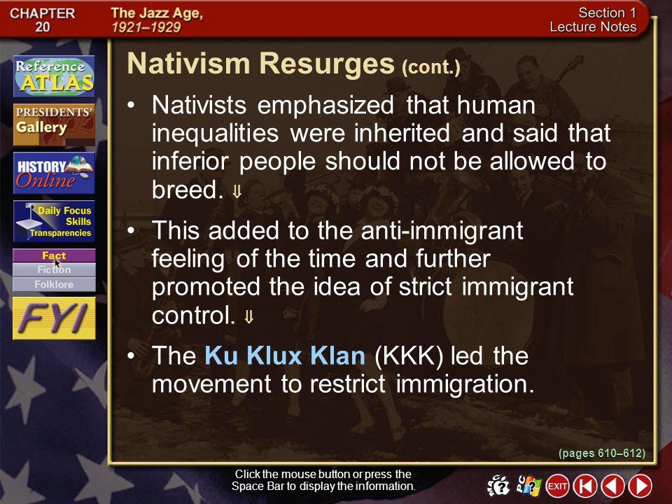 Nativism Resurges (cont.)