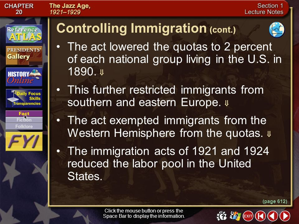 Controlling Immigration (cont.)