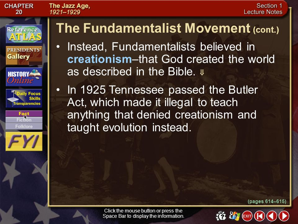 The Fundamentalist Movement (cont.)