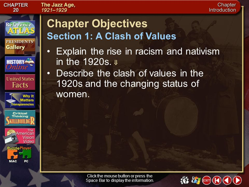 Chapter Objectives Section 1: A Clash of Values