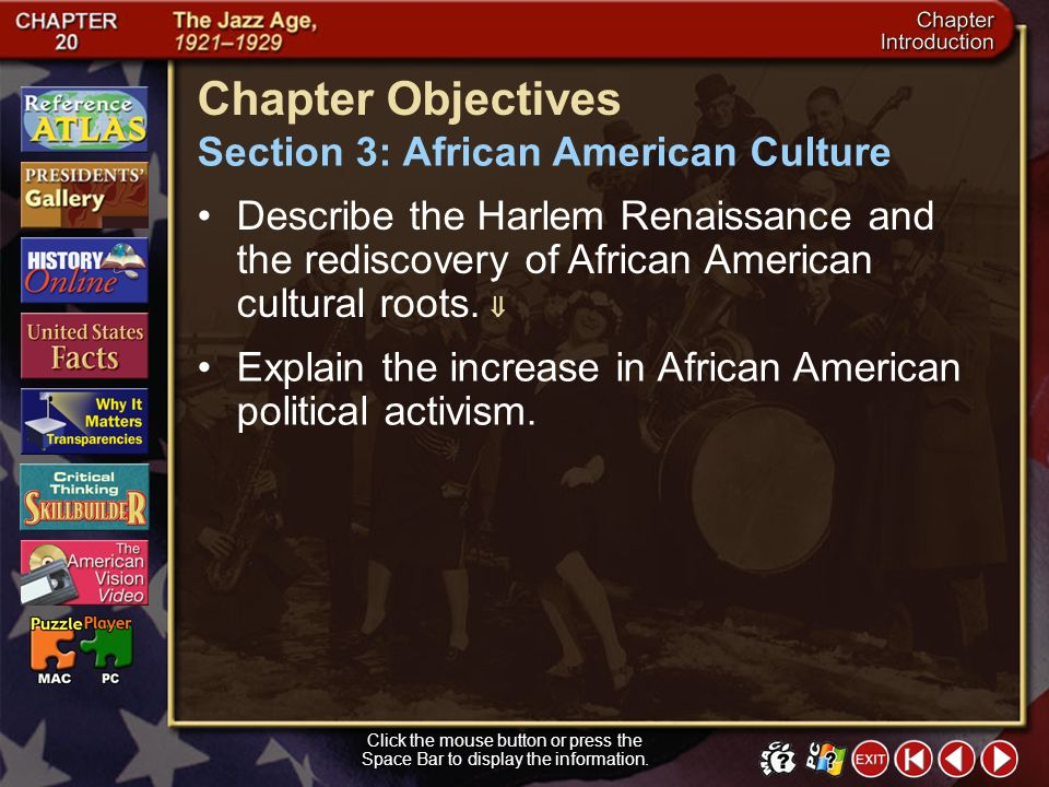 Chapter Objectives Section 3: African American Culture