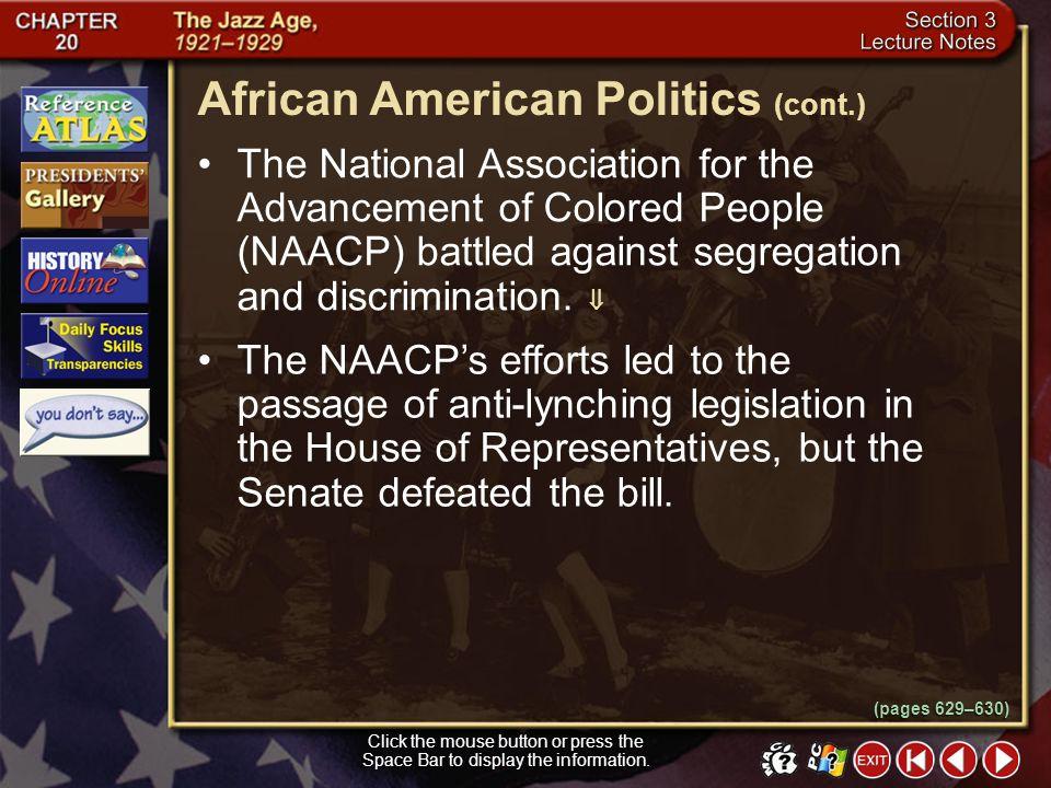 African American Politics (cont.)