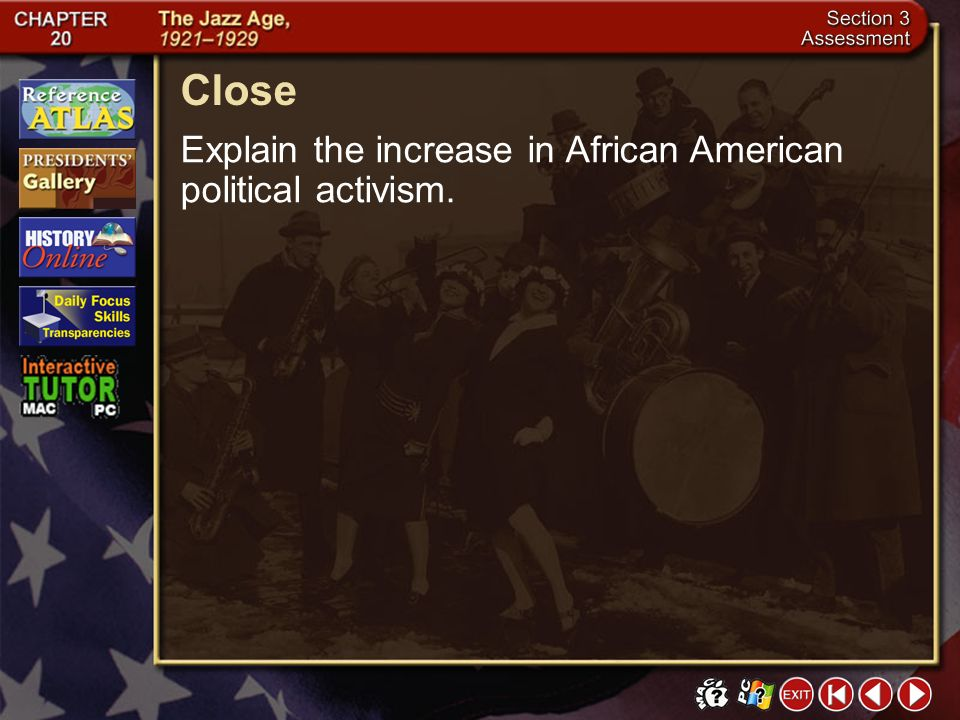 Close Explain the increase in African American political activism.