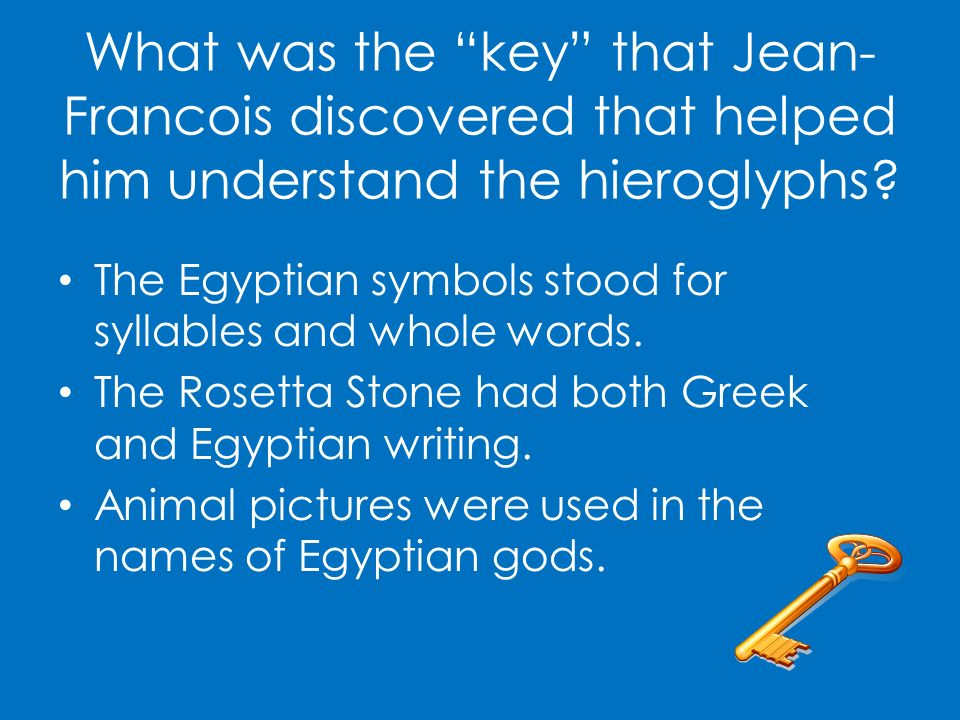 What was the key that Jean-Francois discovered that helped him understand the hieroglyphs