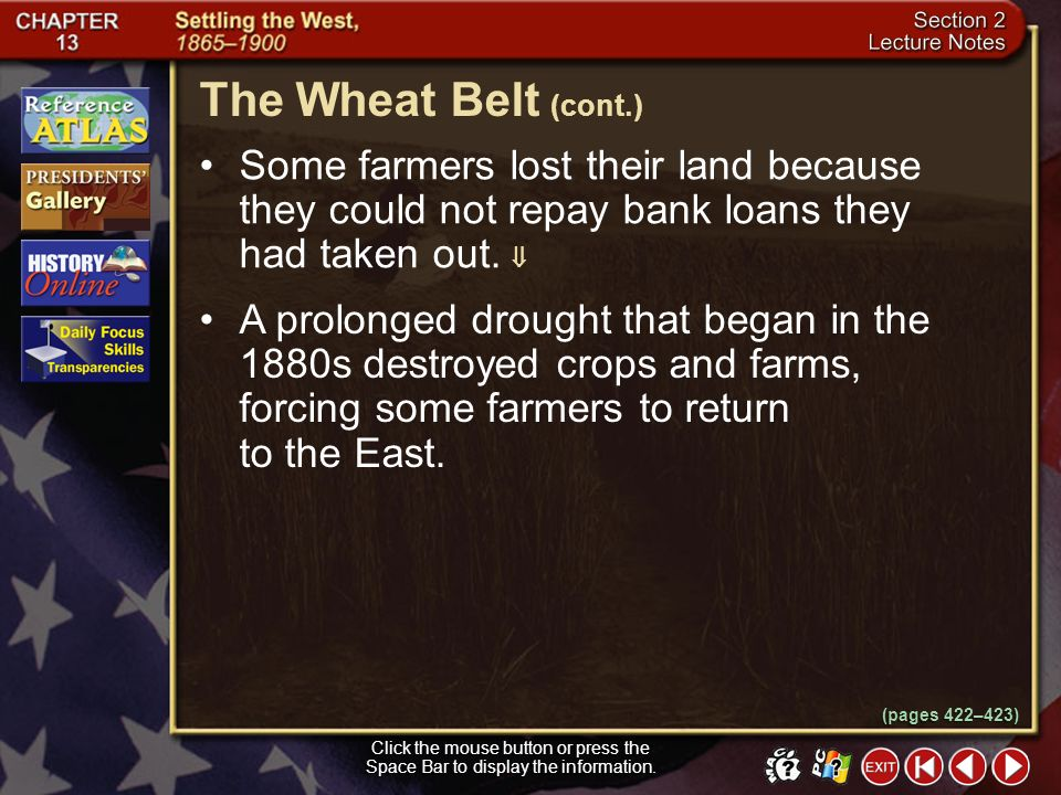 The Wheat Belt (cont.) Some farmers lost their land because they could not repay bank loans they had taken out. 