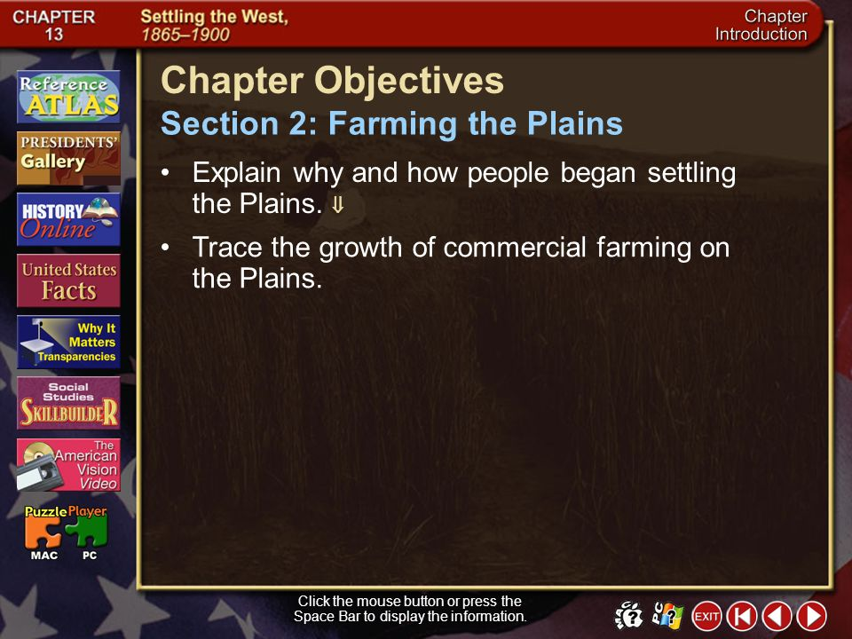 Chapter Objectives Section 2: Farming the Plains
