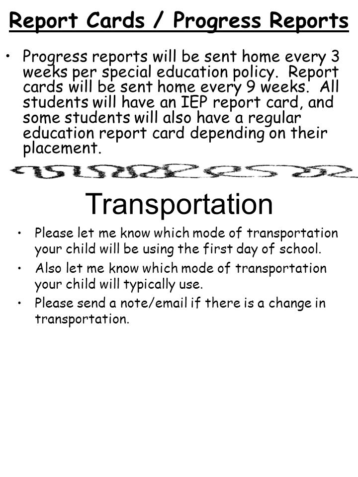 Report Cards / Progress Reports
