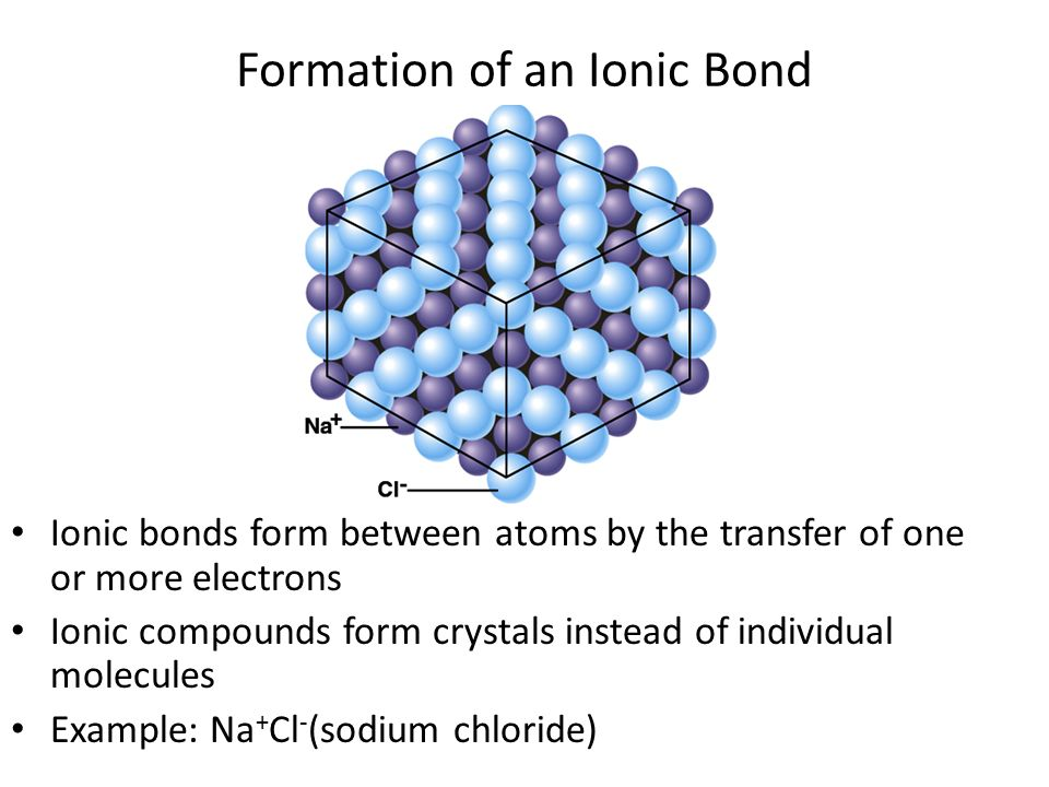 ionic bond formation An ionic (or electrovalent) bond is formed between two ions of opposite charges during the formation of an ionic bond, one of the reacting elements should form a positively charged ion (cation), and the other should give a negatively charged ion (anion) this is possible only if, one of the atoms .
