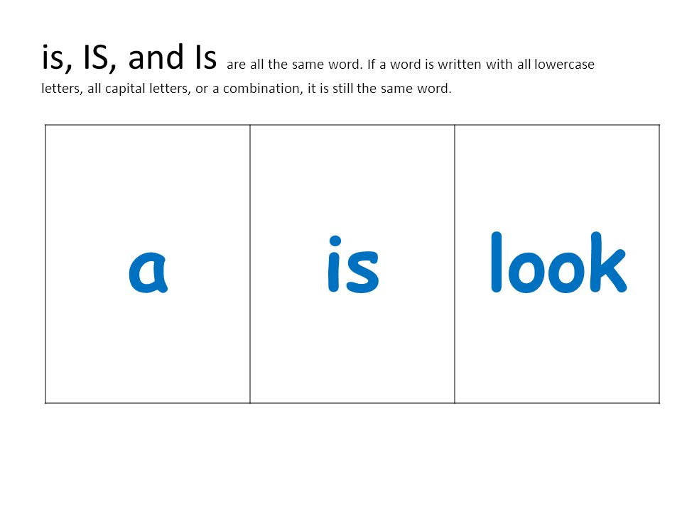 is, IS, and Is are all the same word