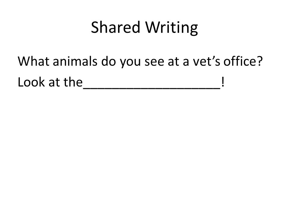 Shared Writing What animals do you see at a vet's office Look at the___________________!