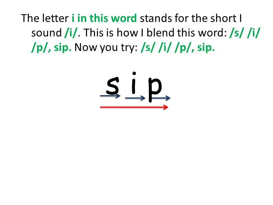 The letter i in this word stands for the short I sound /i/
