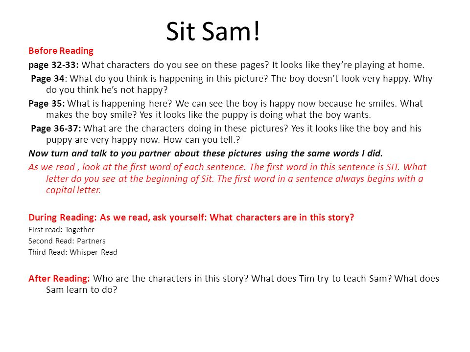 Sit Sam! Before Reading. page 32-33: What characters do you see on these pages It looks like they're playing at home.
