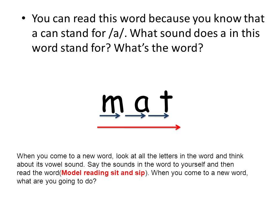 You can read this word because you know that a can stand for /a/
