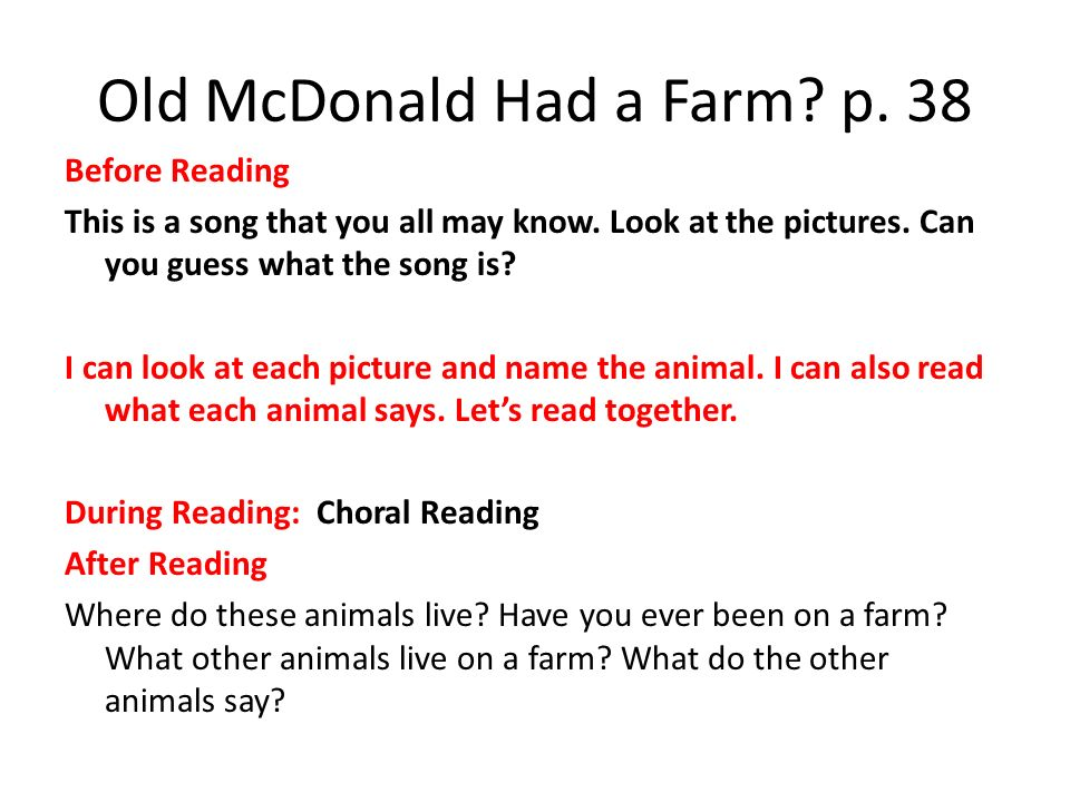 Old McDonald Had a Farm p. 38