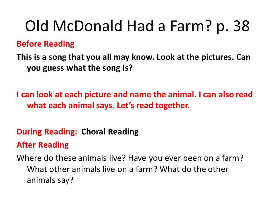 Old McDonald Had a Farm p. 38