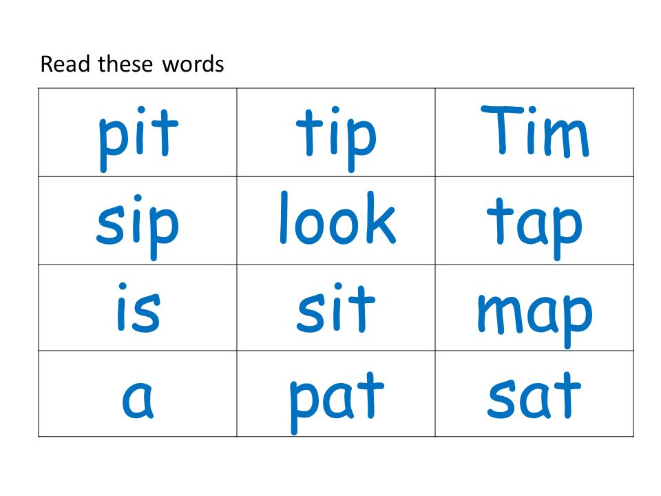 Read these words pit tip Tim sip look tap is sit map a pat sat