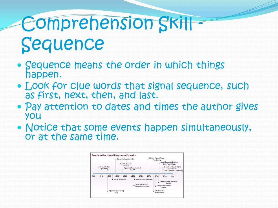 Comprehension Skill - Sequence