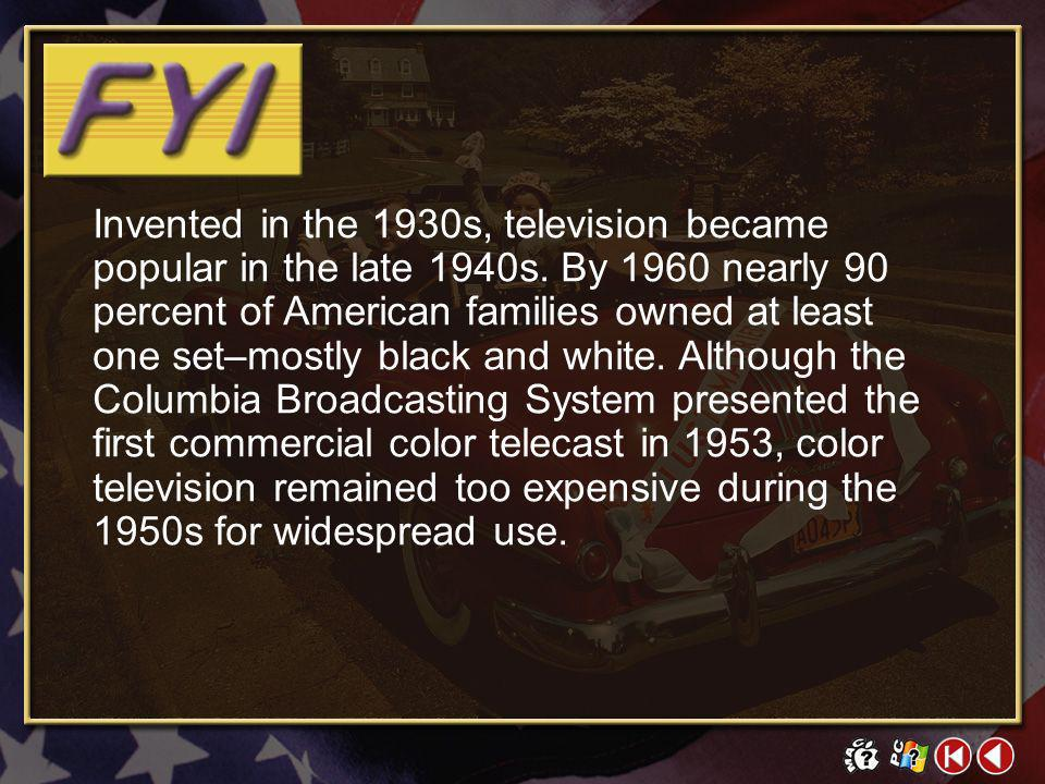 Invented in the 1930s, television became popular in the late 1940s